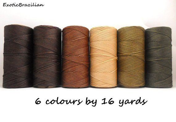 Macrame supplies, set of 6 colours x 16 yards, waxed polyester cord