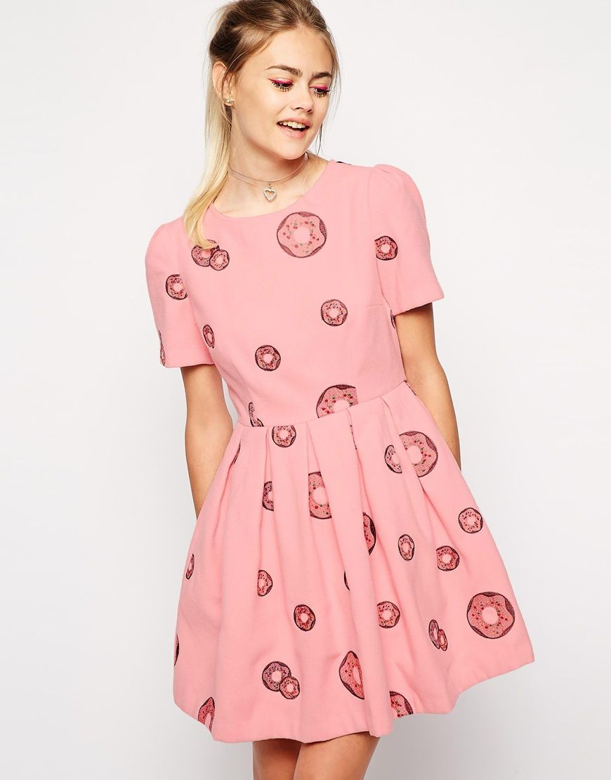 Image 1 of Nishe Brushed Prom Skater Dress In Donut Embroidery ...