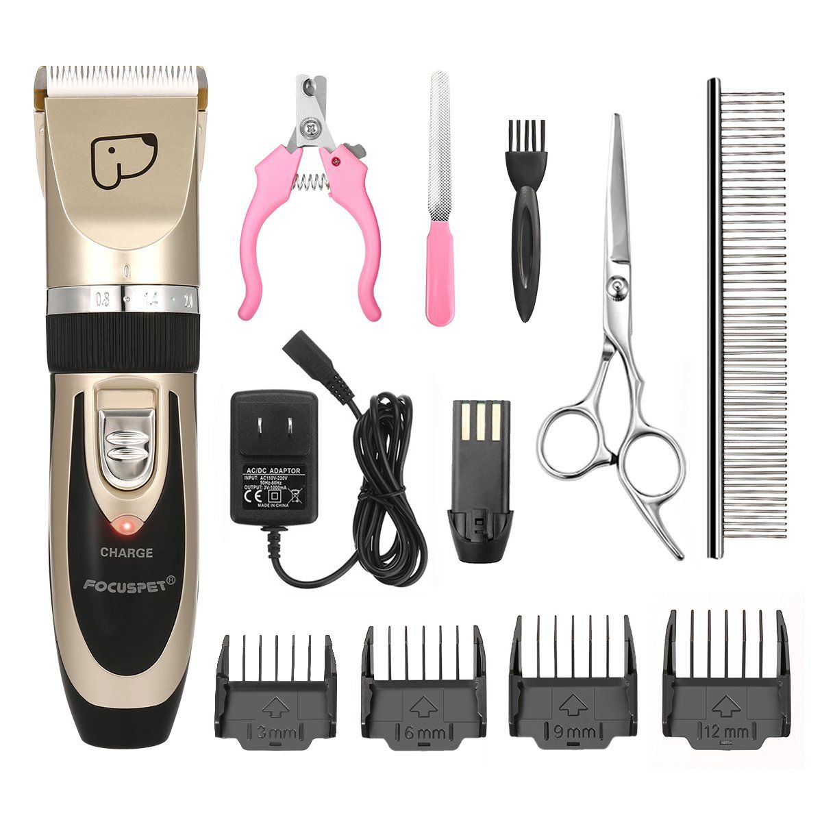 Focuspet Dog Grooming Clippersprofessional Dog Hair Trimmer Rechargeable Pet Shaver Cordless Silent Pet Grooming Kit With 4 C Dog Grooming Clippers Grooming Kit
