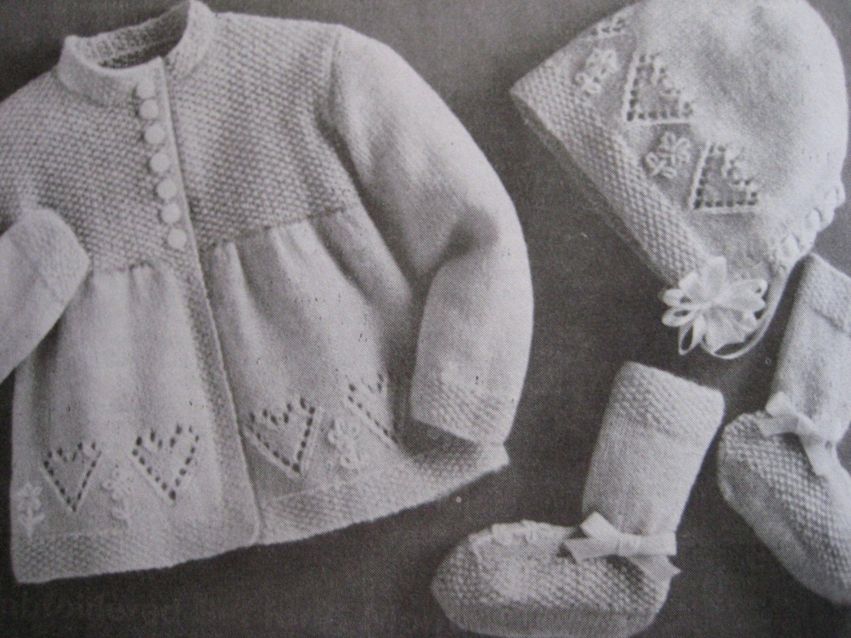 Vintage Knit Baby Patterns Sweater Bonnet Booties Heart Pattern Set ...