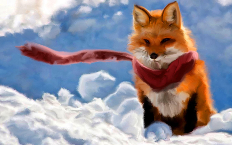 Christmas Fox Wallpaper Fox painting