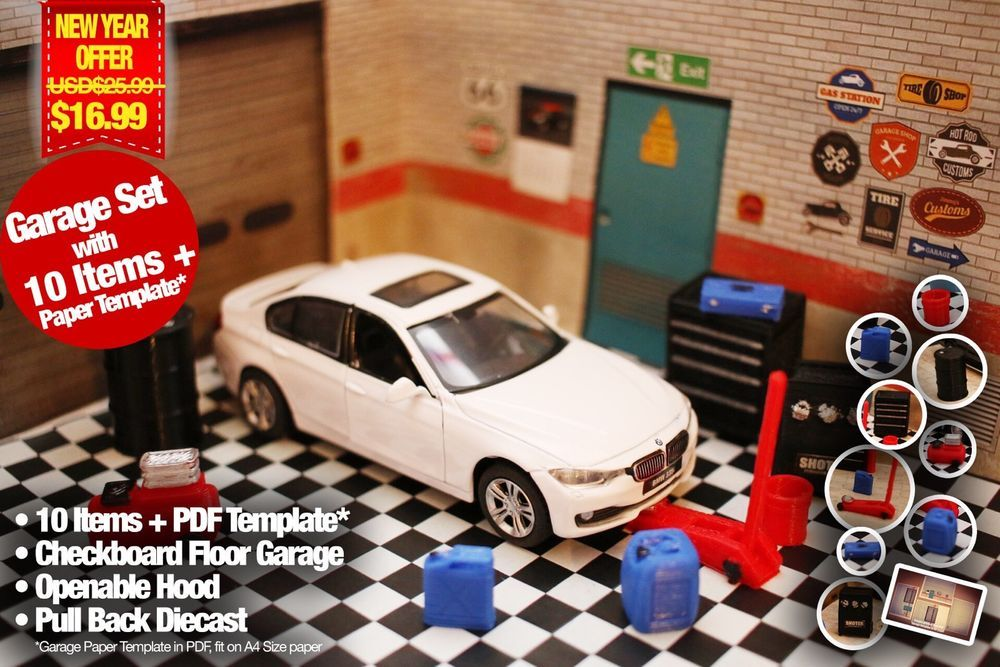 Bmw 3 Series 335i F30 Sedan Diecast Model 1 36 Garage Diorama Accessory Fit 1 24 Diecast Diecast Models Bmw 3 Series