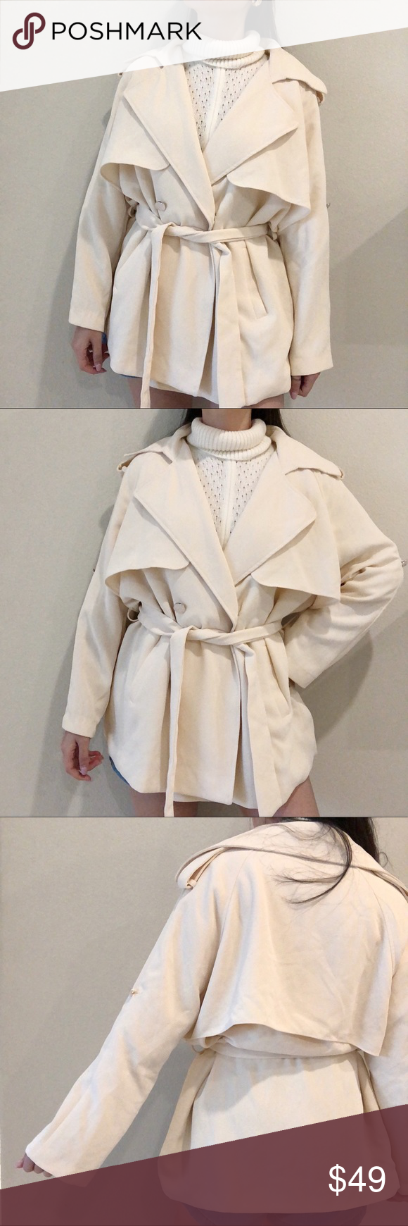 78a3949709 Vintage Flowy Cream Tie-waist Trench Jacket Im 5'2 and 107 for reference  Marked S Will fit S-L Vintage Jackets & Coats