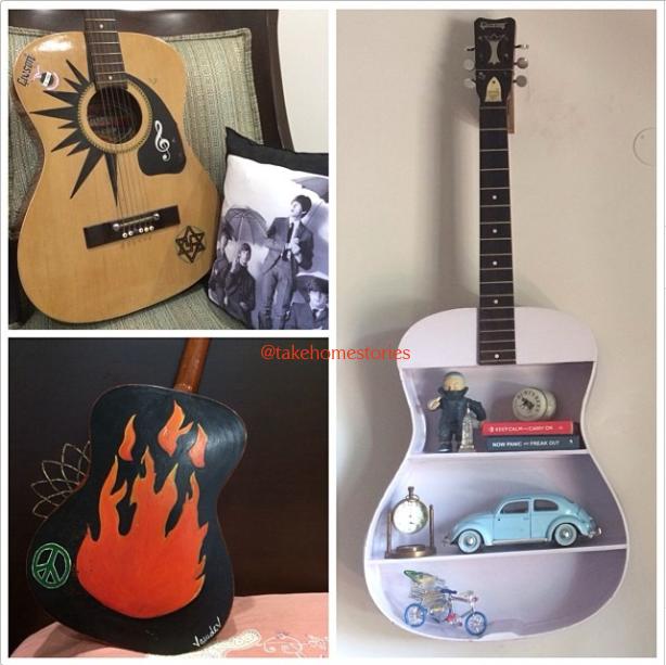 How to turn an old guitar into an interesting decor piece #interior #design #decor #home #living #DIY #craftinginspiration #projects #guitar #furniture #shelfie #designideas #decorideas #living #boysroom #rockstartheme #countrymusic #musicthemed