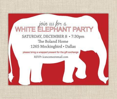 White Elephant Invitation White Elephant Party White Elephant Gifts Party Invitation Template