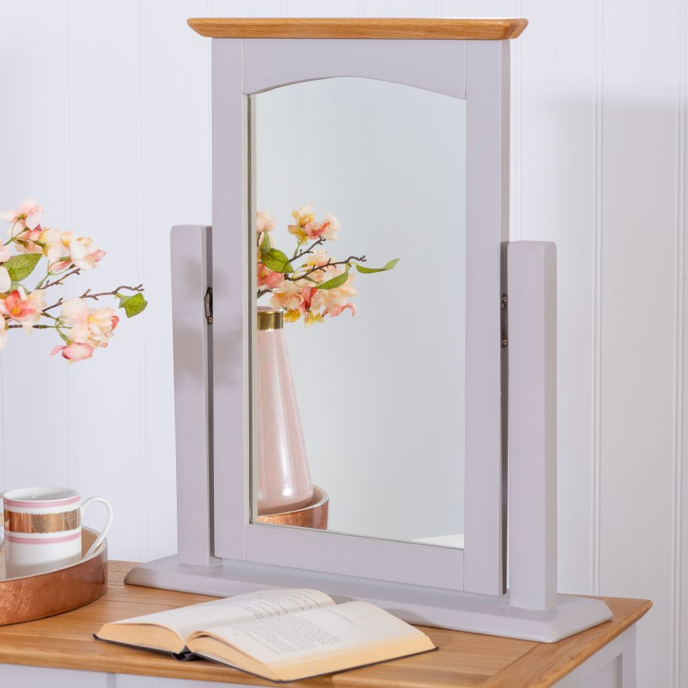 The Living Room Malvern: Malvern Shaker Grey Painted Oak Dressing Table Mirror