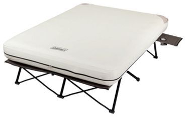 Coleman 174 Queen Airbed Cot With Side Tables And 4d Battery