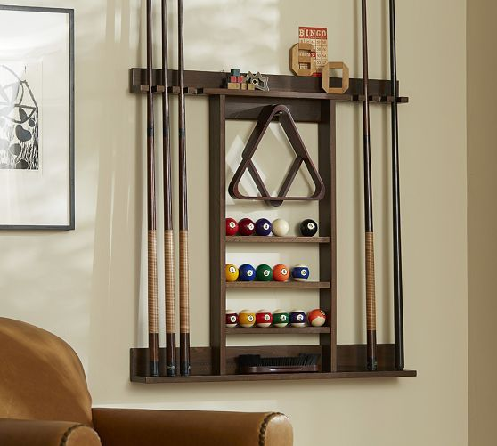 Cue Stick Wall Mount Storage Rack Rustic Mahogany Pool Table Accessories Game Room Furniture Pool Table Room