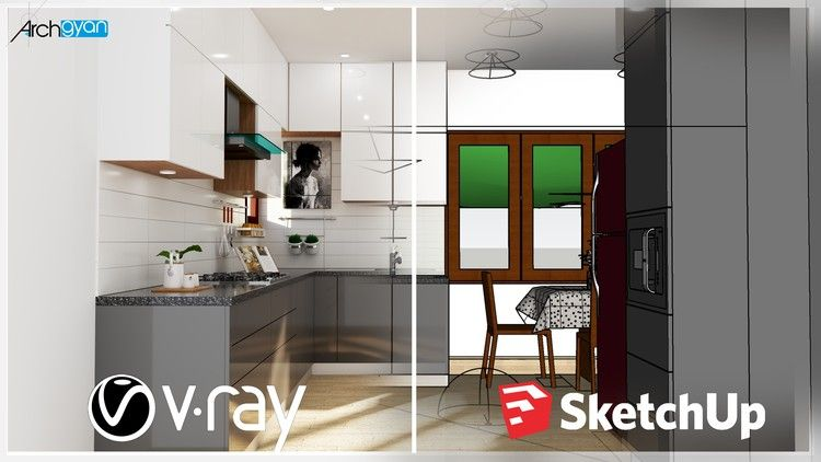 Udemy Free Coupon Vray Next Sketchup 2019 Creating A Kitchen