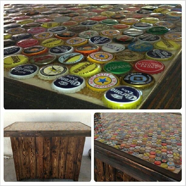 Home made bar with bottle cap bar top craft ideas Bar top ideas