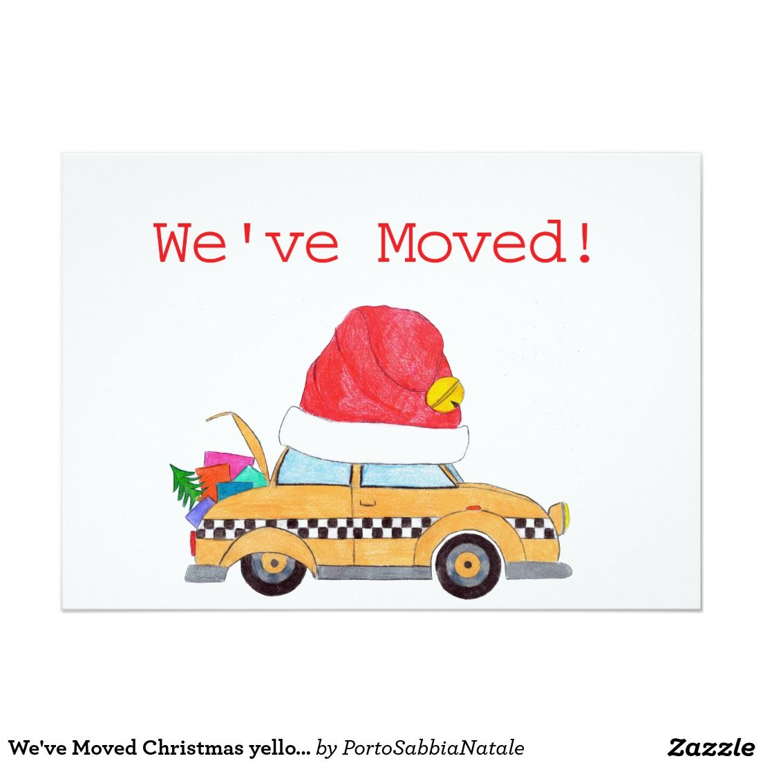 We\'ve Moved Christmas yellow cab Holiday Card | Christmas @ Zazzle ...