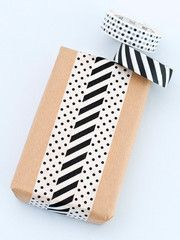 Gift Wrapping with Black and white striped and spotted washi / Japanese masking tape.