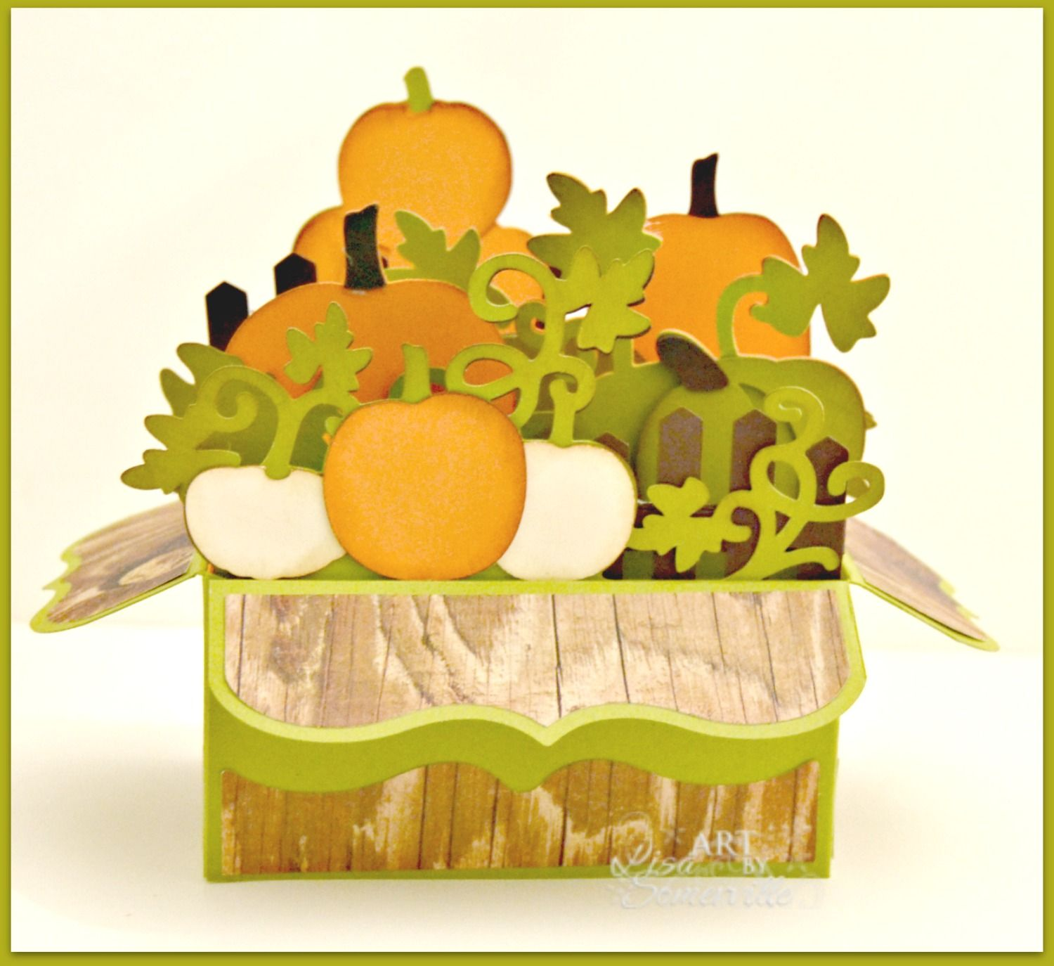 Designs by Lisa Somerville: Pumpkin Patch Box Card - Pinned for Inspiration - she used a SVG cut file.