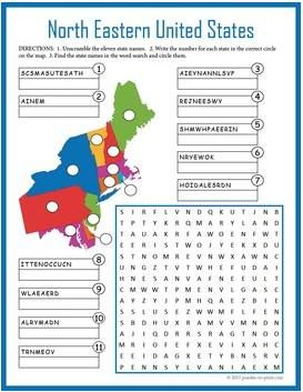 Free Printable Fifty State Word Search | Everything goes ...
