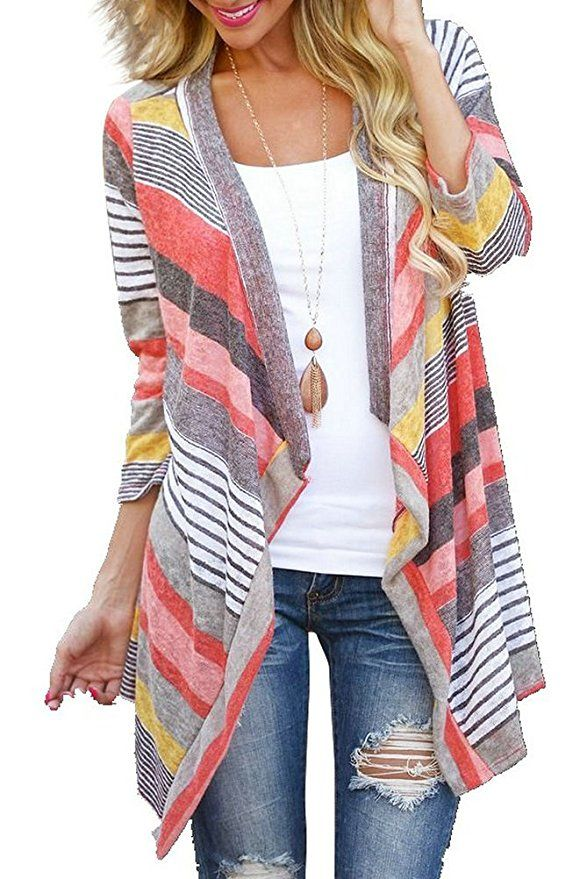 Image result for Myobe Women's Fashion Geometric Print Drape Boho Open Front Cable Knit Sweater Cardigans