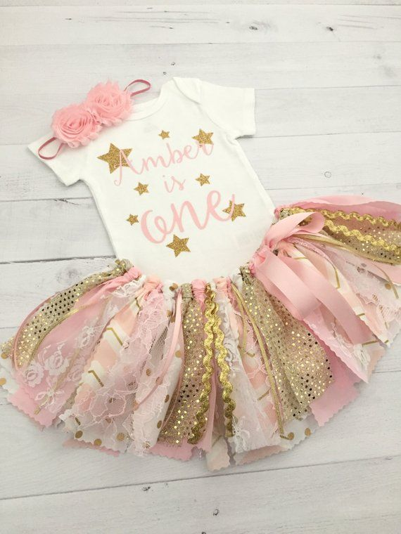 4745e01c6 Pink and Gold Twinkle Twinkle Little Star Birthday Outfit with  Headband/Pink and Gold Fabric Tutu/Ba