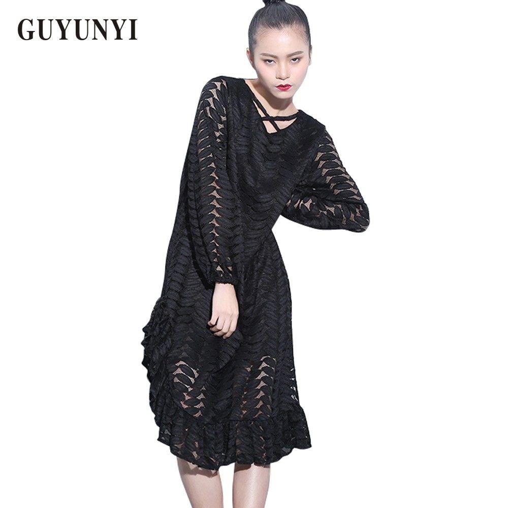 Guyunyi ladies fashion lace dresses solid long sleeve sexy dress