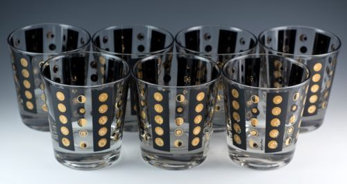 Vintage-Set-of-7-Fred-Press-Gold-Dot-and-Black-Panel-Glass-Low-Ball-Tumblers