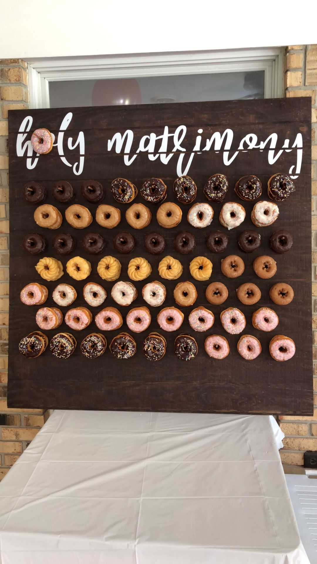 "My ""holy matrimony"" donut board for our engagement party ..."