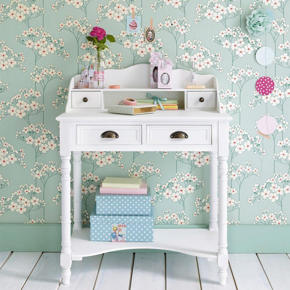 Der Sekretär aus weißem Holz ist ein pfiffiger, kleiner Schreibtisch, der ideal in ein Büro oder Schlafzimmer passt.
