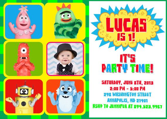 yo gabba gabba ygg birthday party invitation by fabulousinvitation, Wedding invitations