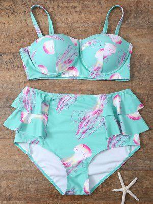 Empuje Hacia Arriba Del Bikini Conjunto De Volantes Impreso Azul