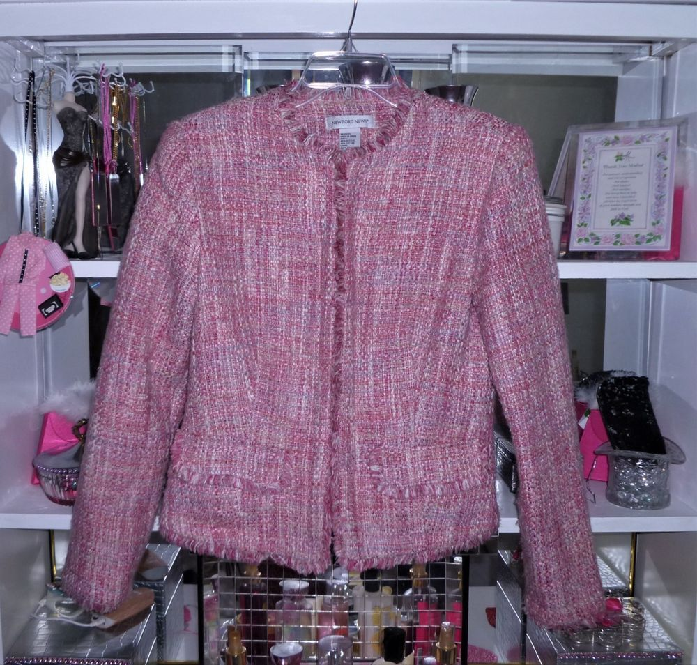 Newport News Pink Boucle Jacket Filly Lined In Pink Size 4 Newportnews Blazer Boucle Jacket Clothes Boucle