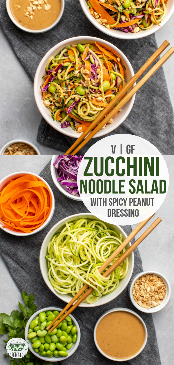 Zucchini noodles combine with, edamame, crunchy veggies, and a spicy peanut sauce to make this fresh, filling, and protein-packed salad! |