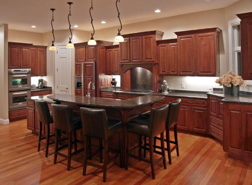 52 Dark Kitchens With Dark Wood Or Black Kitchen Cabinets 2020 Cherry Wood Kitchens Kitchen Flooring Kitchen Cabinet Layout