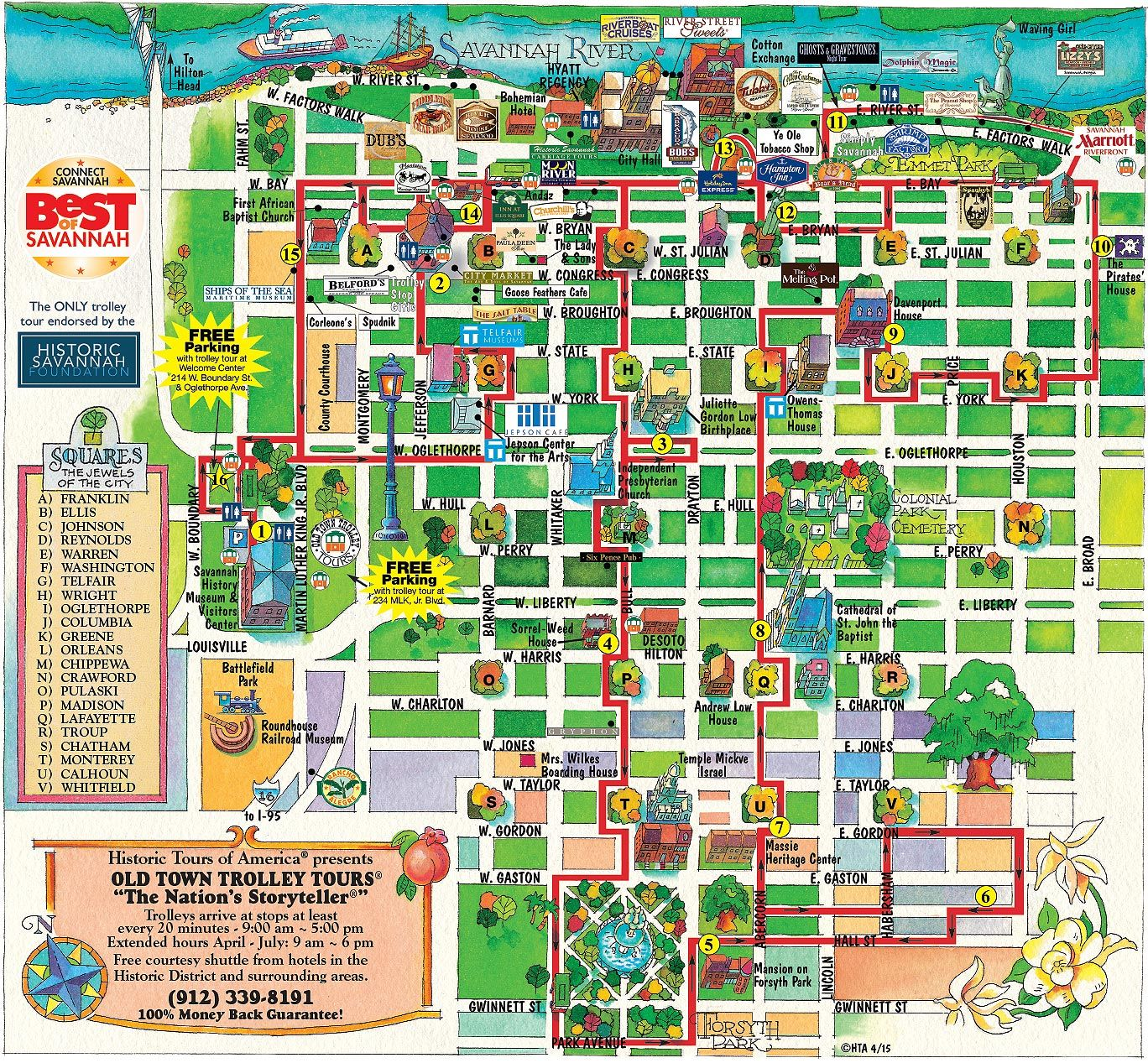 Old Town Trolley Map Old Town Trolley Tours® of Savannah route map. This is a great
