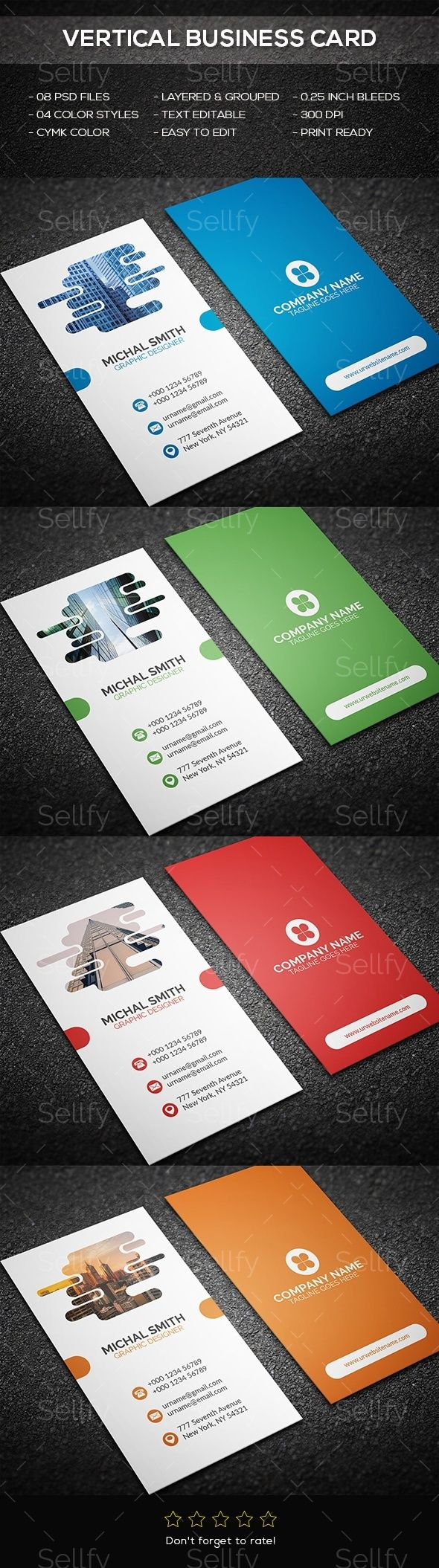 Vertical Business Card   Vertical business cards, Print templates ...