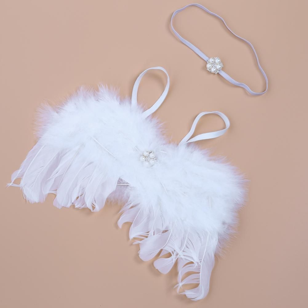 Baby Newborn Photography Props Accessories Baby White Angel Feather Wing Set Costume Photo Props Newborn
