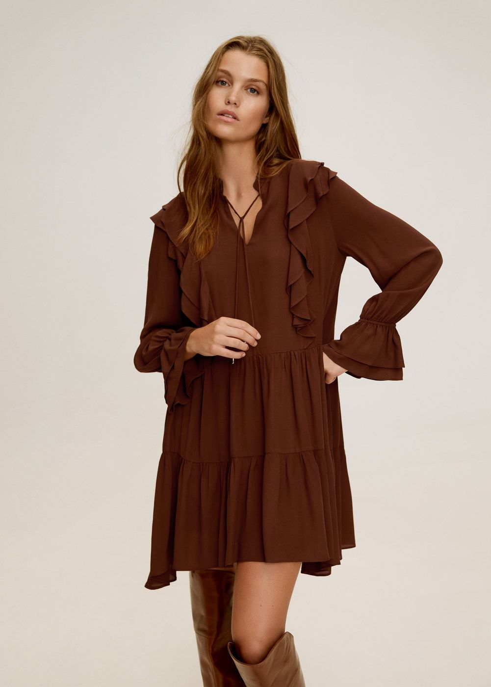 Short Ruffled Dress Women Mango Usa Kleider Fur Frauen Ruschenkleid Coole Kleider