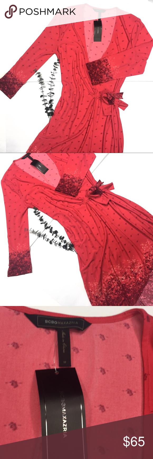 Bcbgmaxazria medium red wrap floral dress bcbgmaxazria dresses