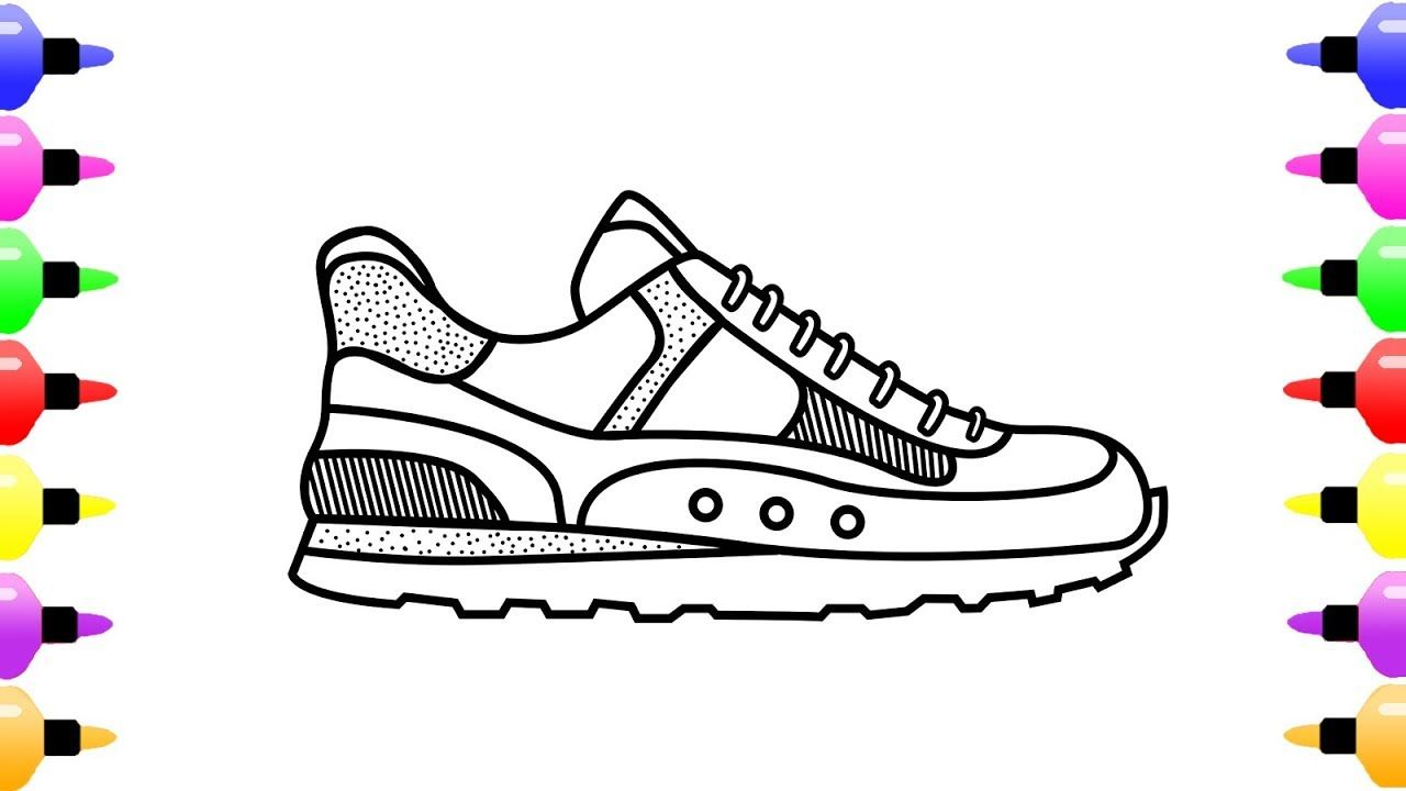 How To Draw A Running Shoes For Kids Coloring Page For Children