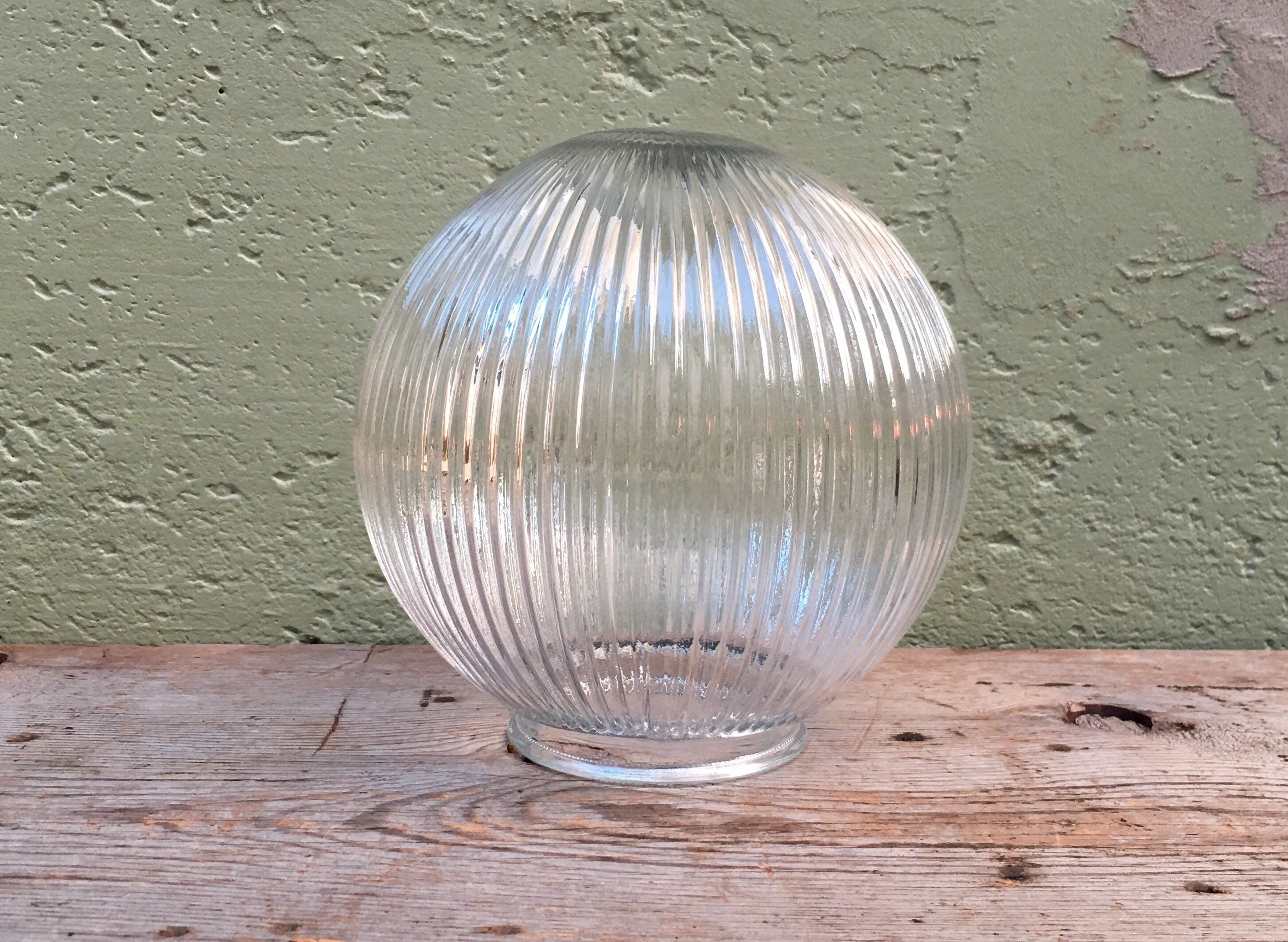 Vintage Clear Round Ribbed Design Mid Century Art Deco Etsy Light Fixture Covers Globe Light Fixture Glass Globe
