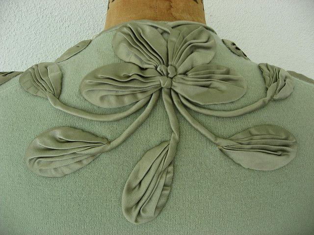 Celadon cashmere s with silk appliques