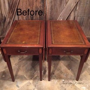 Yes You Can Paint Leather Furniture Vintage Drop Side Tables