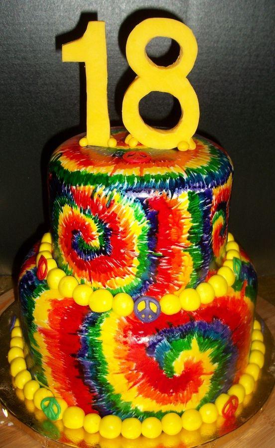 Tye Dyed Birthday Cakes Birthday Ideas Tie Dye Cakes