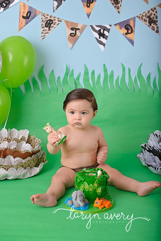 Cake Smash First Birthday Safari Jungle