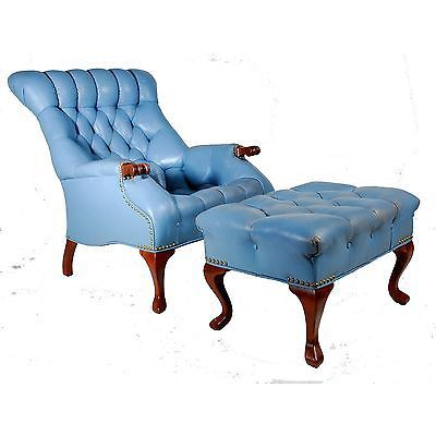 Blue Leather Diamond Tufted Chesterfield Lounge Chair U0026 Ottoman By Carl  Forslund