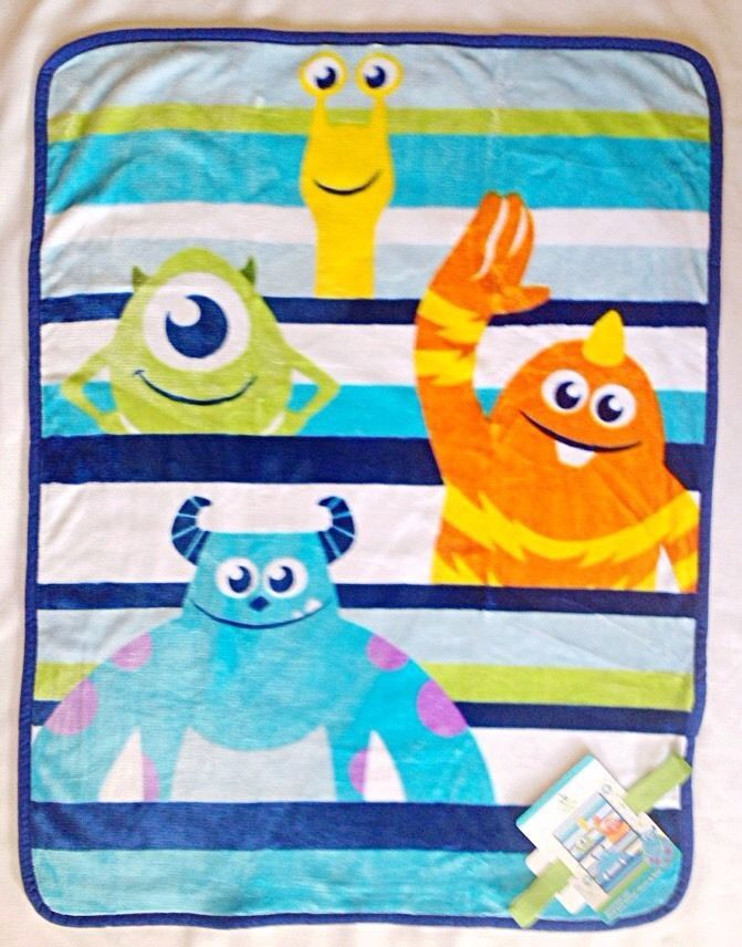 8c89ea488b10 new  disney monsters inc plush  baby blanket 30x40 sulley super soft ...
