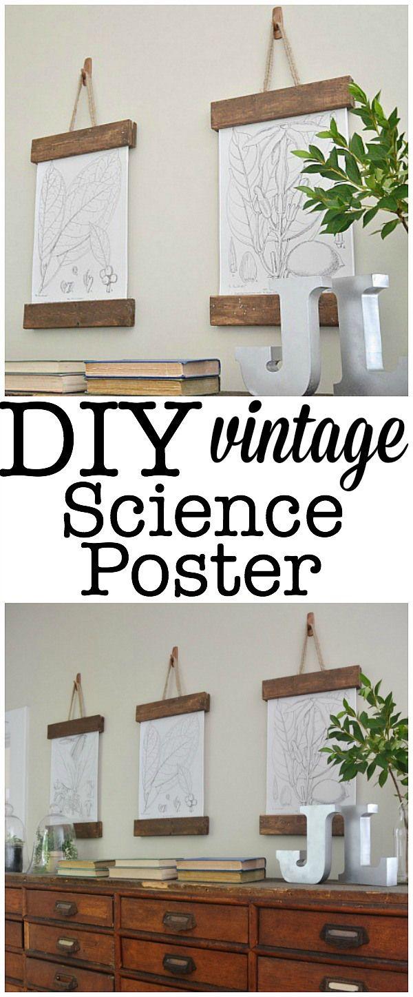 DIY Vintage Science Poster   Bilder poster, Bohren und Aufhängen
