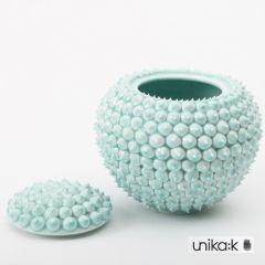 Henriette Duckert - Keramik håndlavet pigget lågkrukke, stor turkis