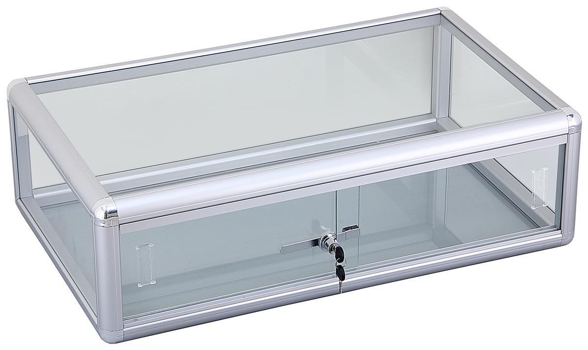 Countertop Display Case With Aluminum Frame Lockable Sliding Door
