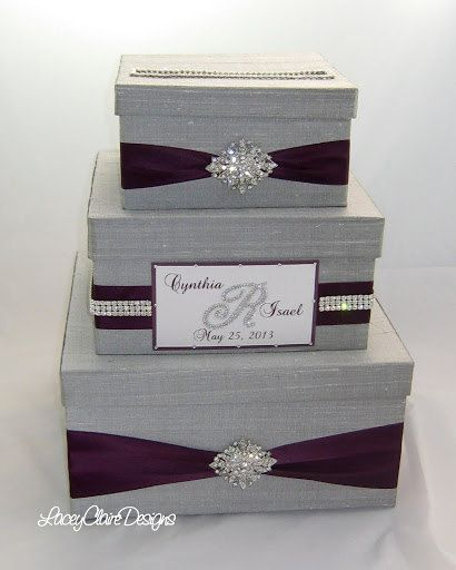 Wedding Card Box Gift Table: Purple, Gray And Bling Card Box.