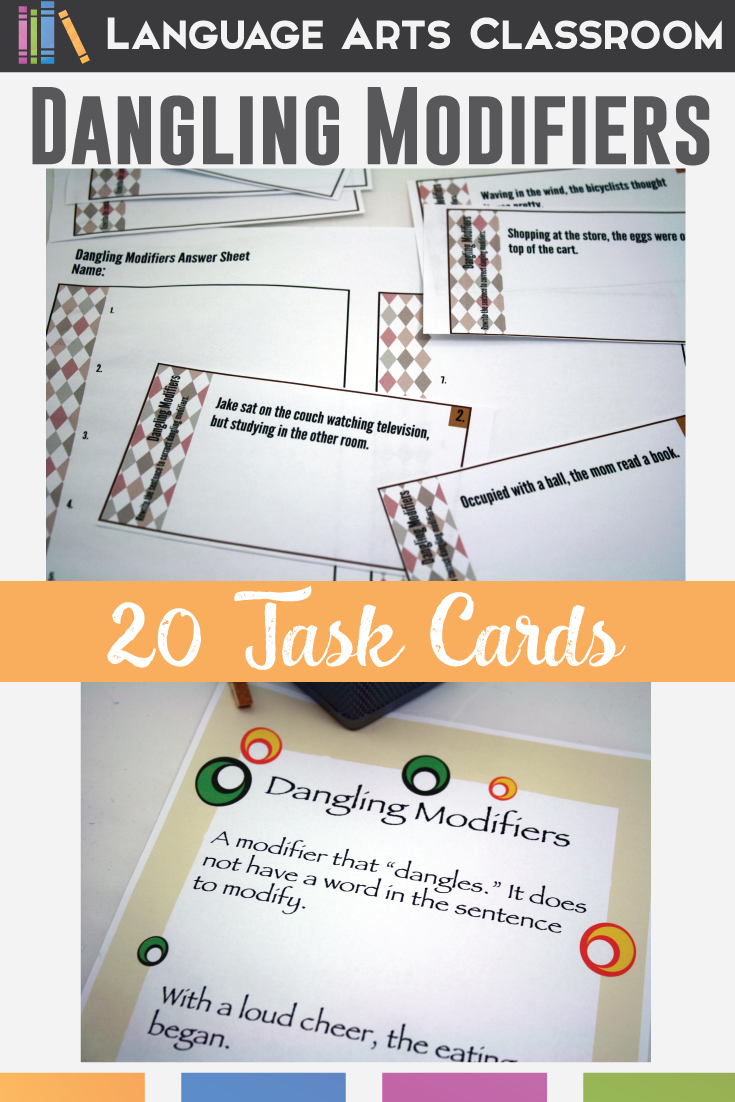 Dangling Modifiers Task Cards Language Arts Classroom Pinterest