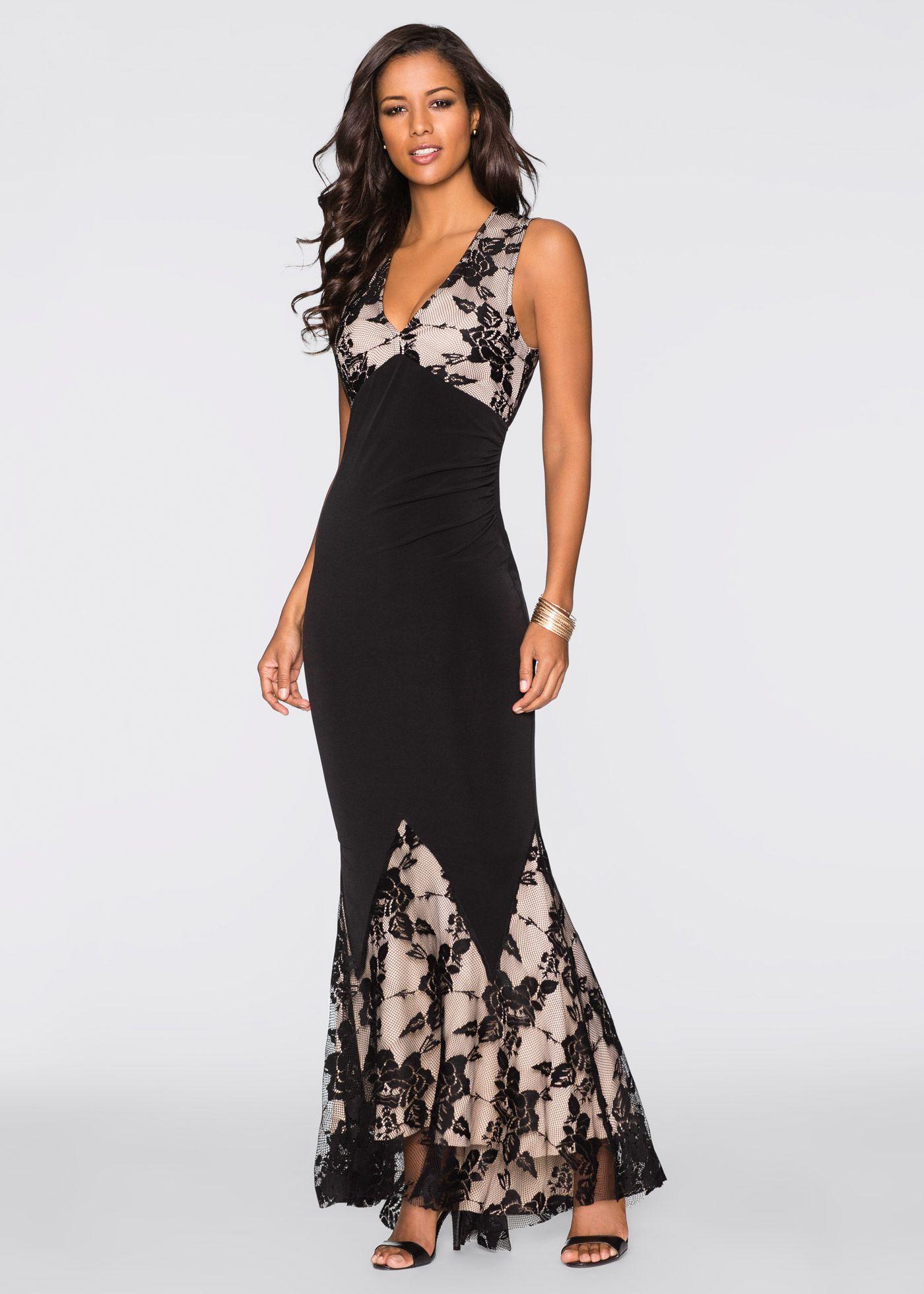 Glamouröses Kleid mit Spitzeneinsätzen | Abendkleid schwarz ...