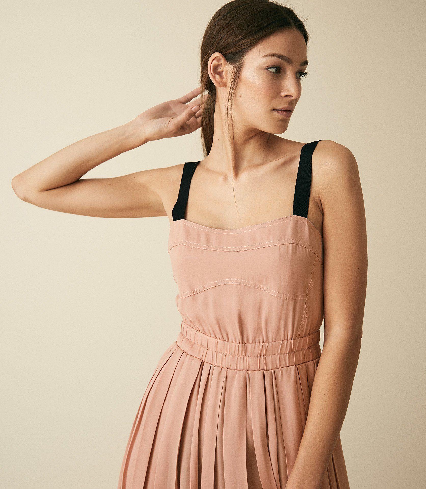 7b2374a15c Luella Blush Pleated Midi Dress – REISS