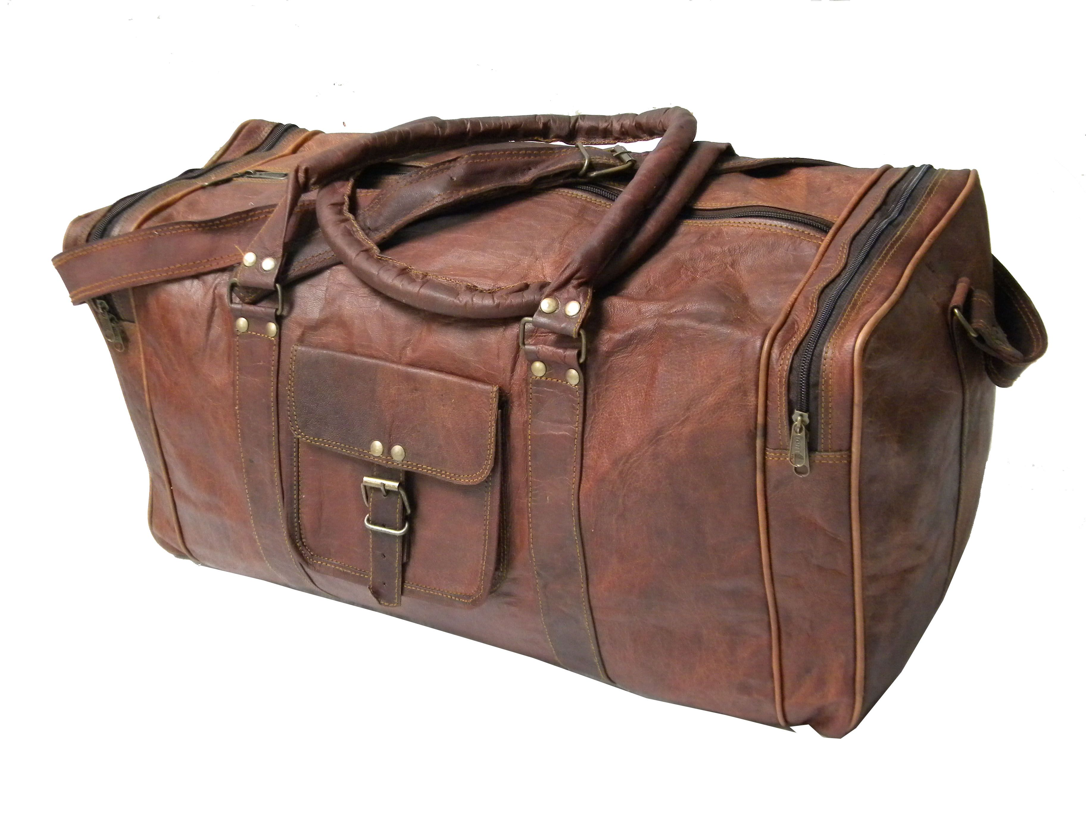 Leather Genuine Travel Bag Duffel Gym Men Vintage Luggage S Overnight Weekend